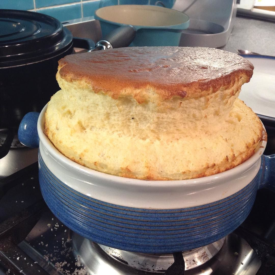 Cheese soufflé. Couldn't get better rise than that! #cheese #lunch