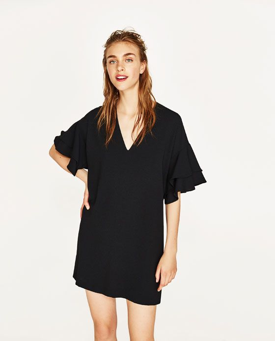 FRILLED-SLEEVE DRESS from Zara   Little Board Of Style   Pinterest ... d49b25c166d