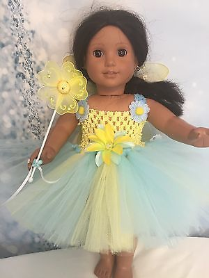 """American Girl Doll Yellow tutu dress Wings And Wand clothes fits all 18"""" dolls 