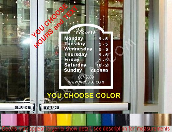 Store hours custom window decal business shop storefront vinyl door sign company name personalized sticker decals stickers deli bakery salon on etsy 12 99