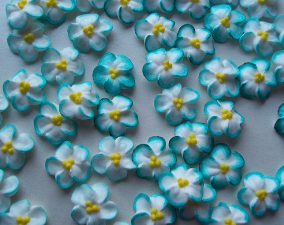 simple cake decorating ideas with fondant.htm made to order 2 dozen teal tipped white royal icing flowers 3  royal icing flowers