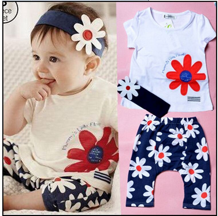 $6.86 (Buy here: http://appdeal.ru/5zcd ) Baby girls summer clothes 3 pieces per set Hair band flowers short-sleeved clothing sets  for just $6.86