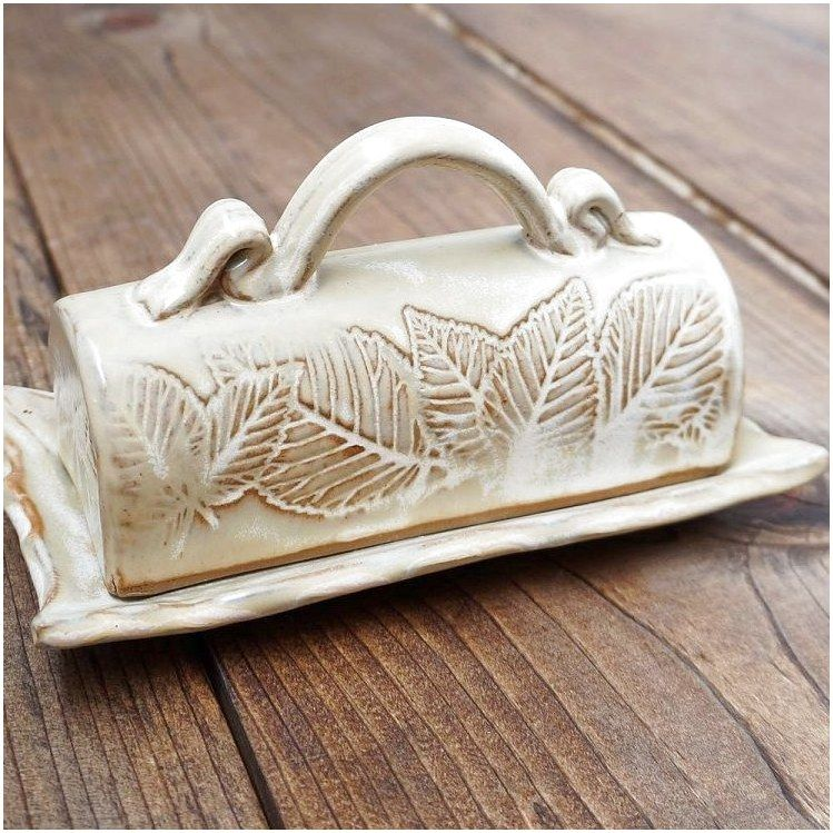 Leaf Motif Butter Dish | North Carolina Pottery #CeramicFurnishings #Pottery #Ceramics click for info. #potteryclasses