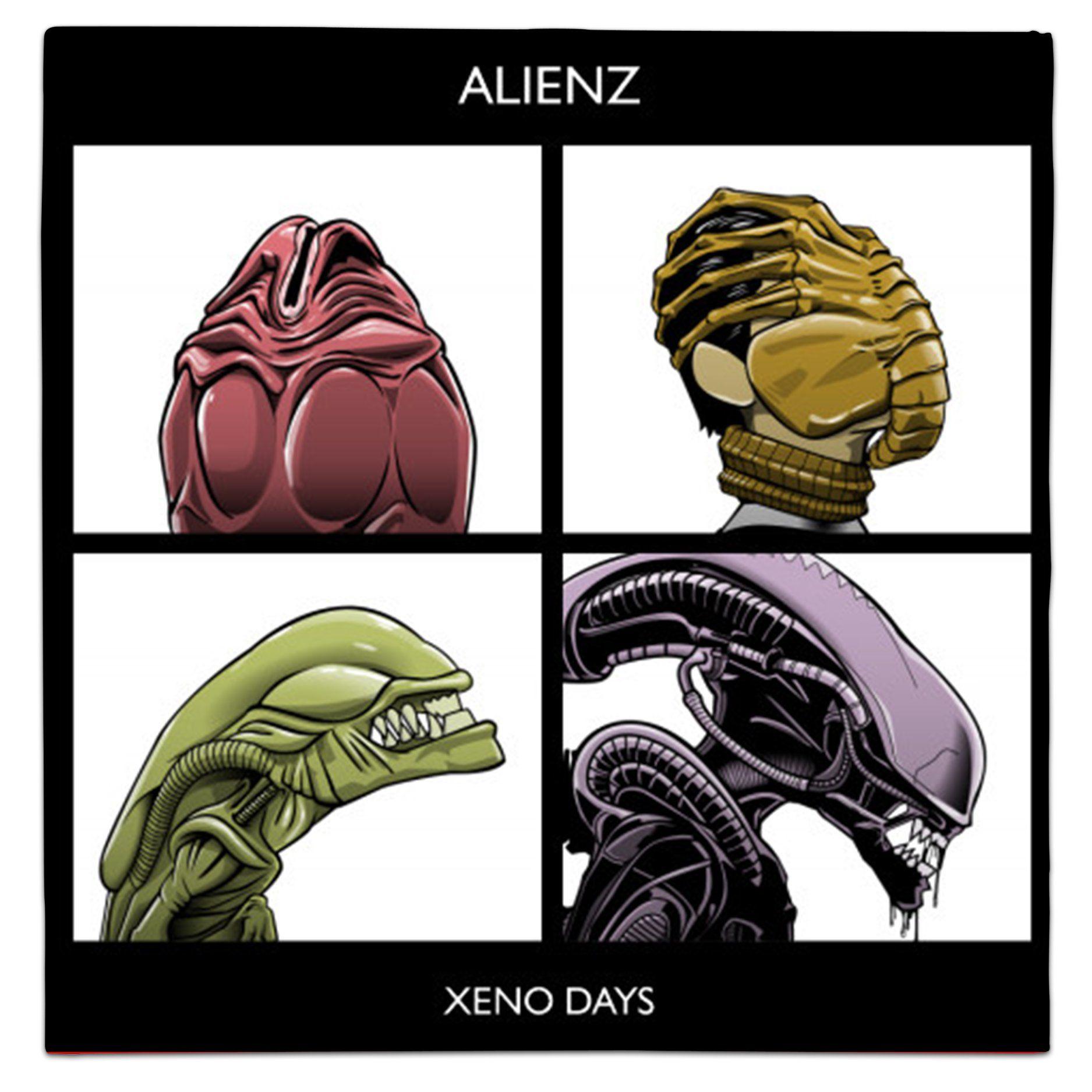 Gorillaz Demon Days Parody Alienz Xeno Days Xenomorph Facehugger Black T-Shirt