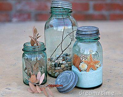 Antique Mason Jars Colored Glass Bottles Beach Bathroom Decor Mason Jars