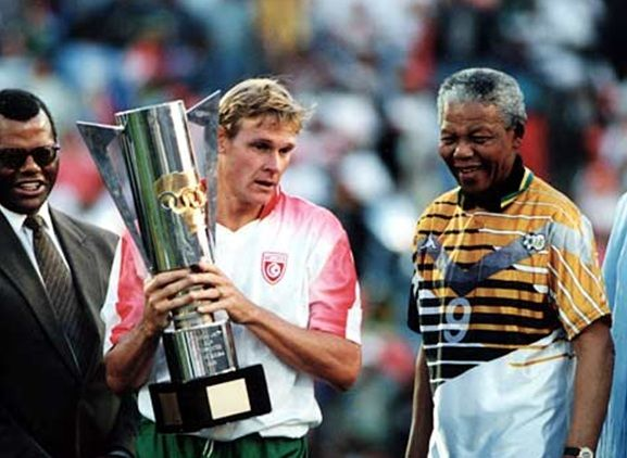 Our Hero Our Madiba Nelson Mandela Spurs The Bafana Bafana To Victory In The 1996 Africa Cup Of Nations Sports Fnb Stadium Mandela