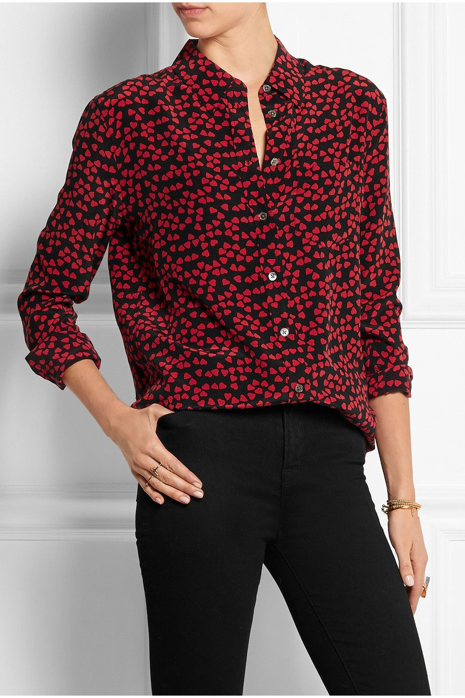Equipment black with red hearts print long sleeved silk shirt
