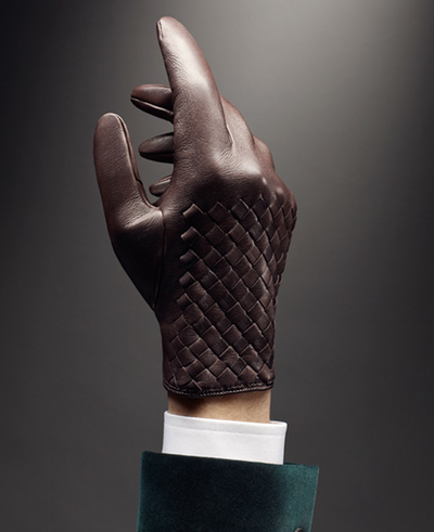 fcc6d057347b7 The Bottega Veneta weaved leather glove. Rustic luxury.