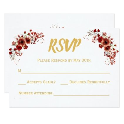 Floral marsala gold white wedding rsvp reply card floral marsala gold white wedding rsvp reply card wedding invitations cards custom invitation card design stopboris Choice Image