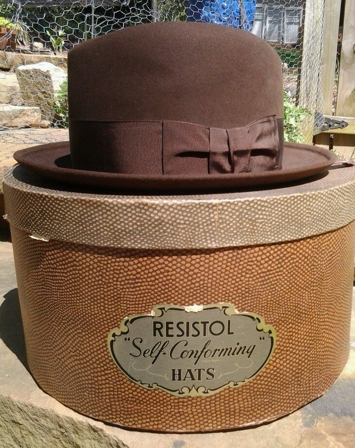 cd3977bd446 Vintage hat brown homburg fedora Brooks Brothers with vintage box retro