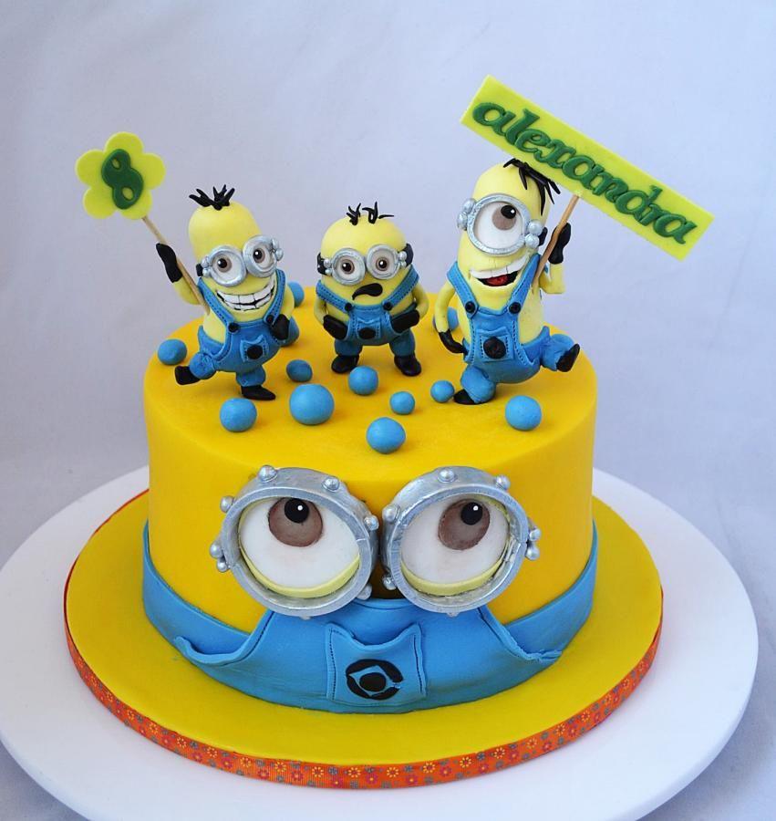 Divertida torta para fiesta de cumplea os minions - Bizcocho cumpleanos para ninos ...