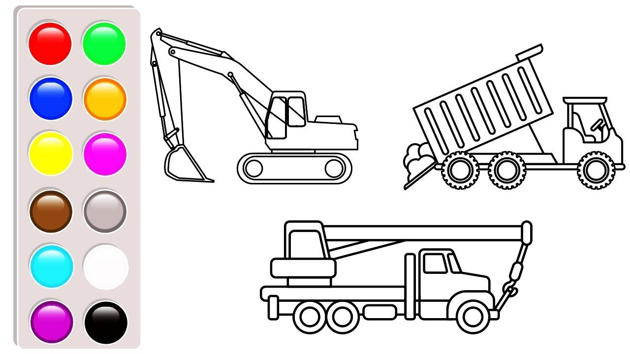 Learn colors for kids with Construction truck coloring pages, Dump ...