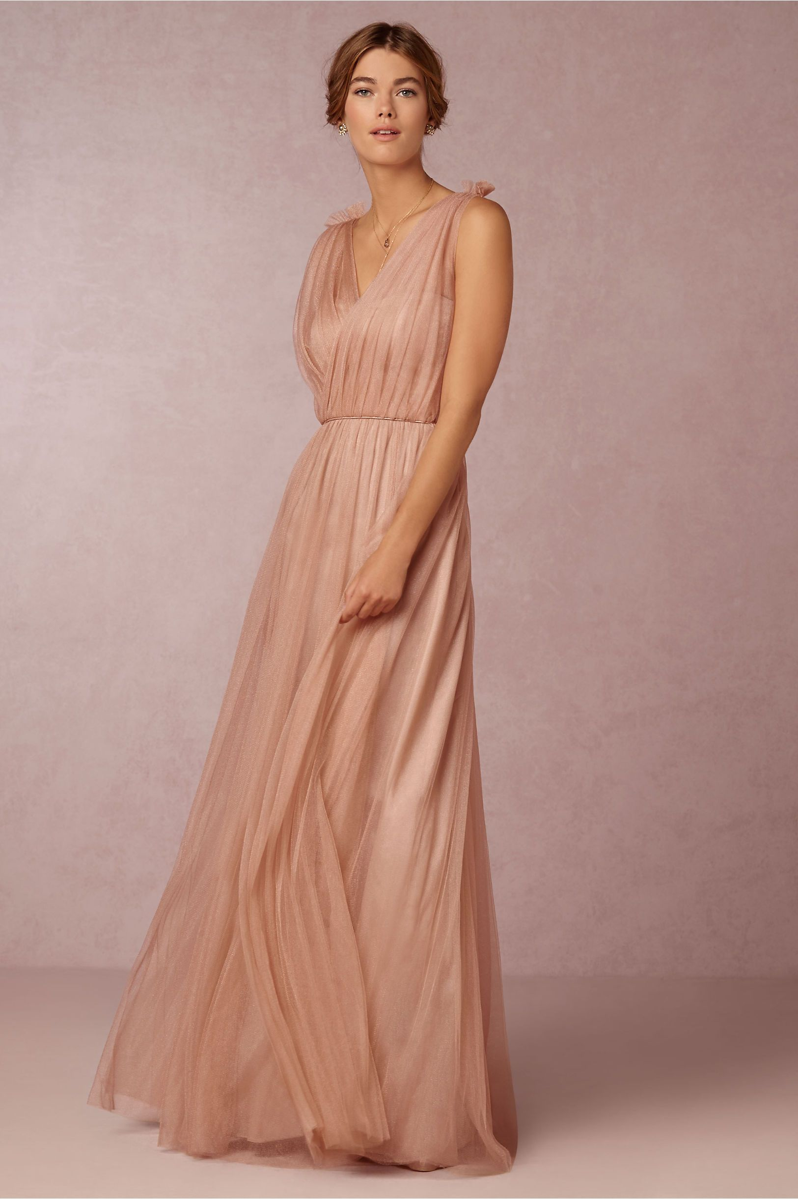 Blush maxi bridesmaids dress emmy dress in feather pink for Donna morgan wedding dresses