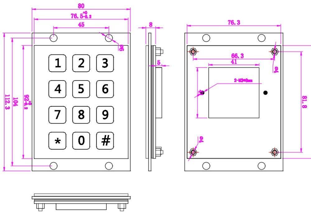 Metal USB Keyboard With 12 Keys 3x4 Keypad Industrial Mini Keyboard
