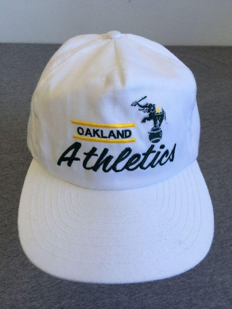 8ba03f188df OAKLAND ATHLETICS Vintage 1980 s Snap Back Hat A s Signature WHITE sewn   Athletics  ANNCO  BaseballCap