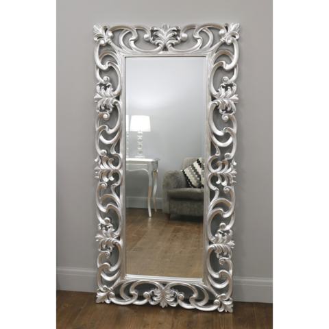Baroque Grande Platinum Silver Ornate Rectangular Mirror 72 X 36 180cm X 90cm Ornate Mirror Rectangular