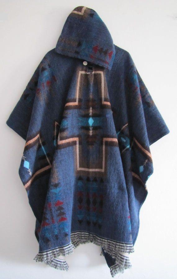 Poncho with Hood Wool Blue Coat Unisex Cape - Hand