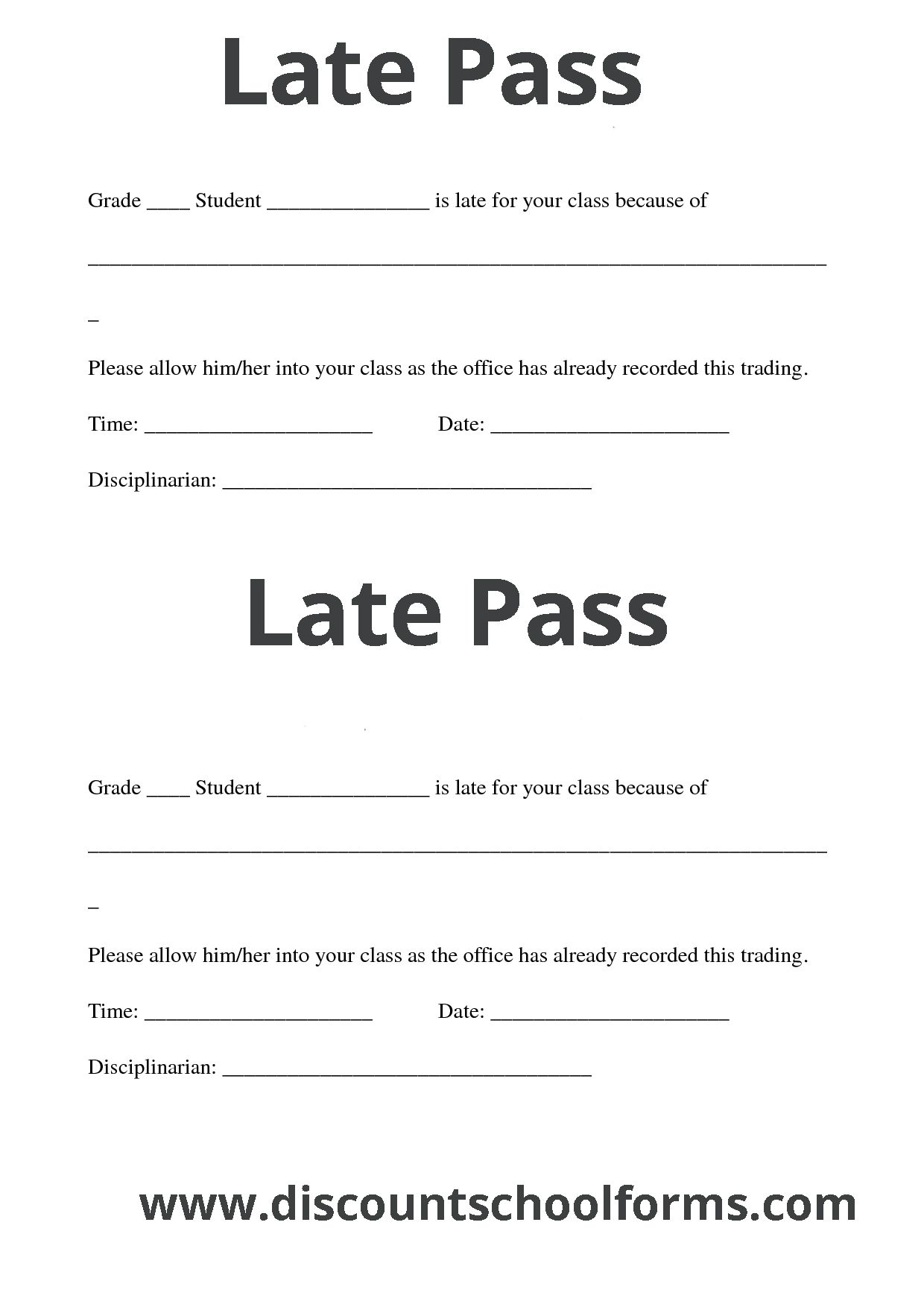 Discount School Forms Printing Services Like Late Pass Late Slips