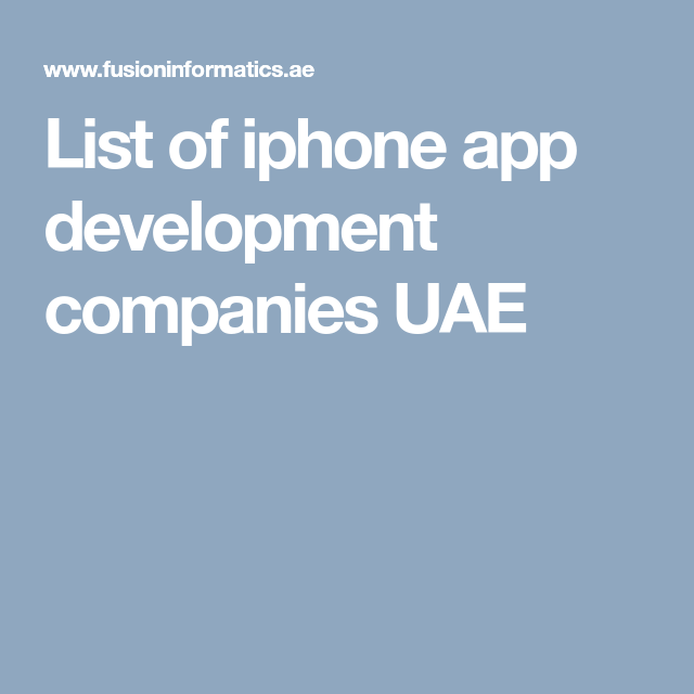 Fusion Informatics is the best ios app development companies