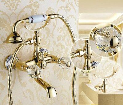 Luxury Crystal Handwheel Gold Bathroom Bathtub Shower Faucet Set