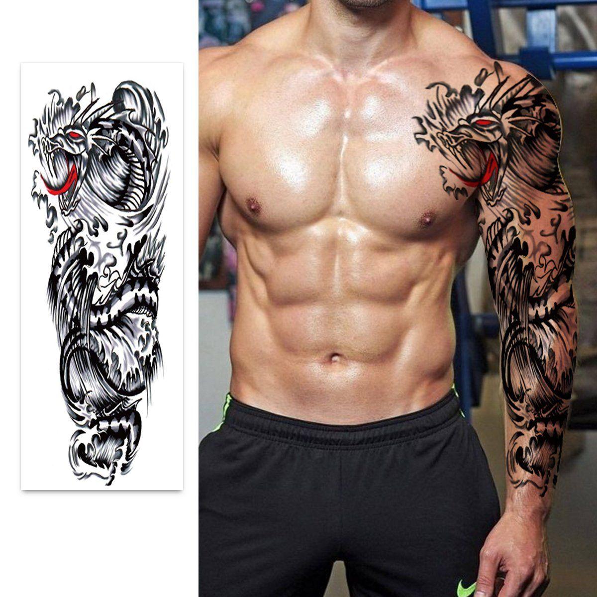 Large Temporary Men Women Tattoos - Wolf,Tribal,Koi Fish, Skull, Cross,Dream Catcher,Dragon Tattoo Body Art Designs,Arm Shoulder Neck Chest & Back Fake Tattoos for Men Women