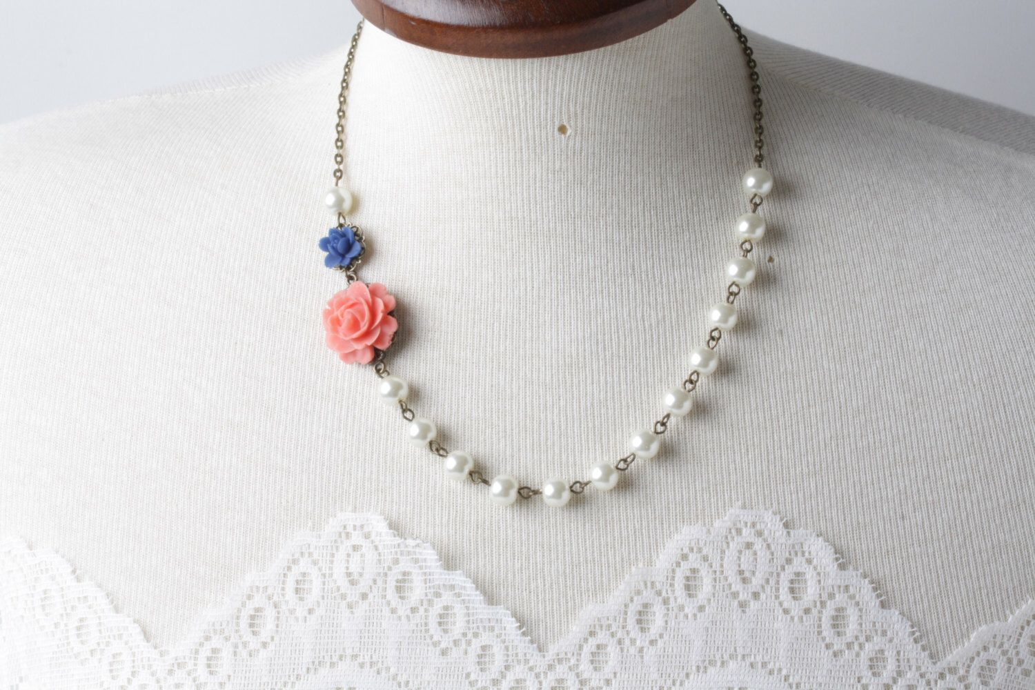 Bridesmaid necklace, coral and navy rose necklace, Coral wedding ...