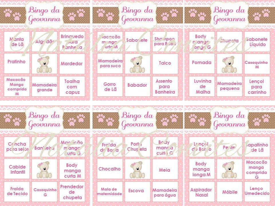 Muito Resultado de imagem para imprimir bingo cha de bebe | Bingo  LN69