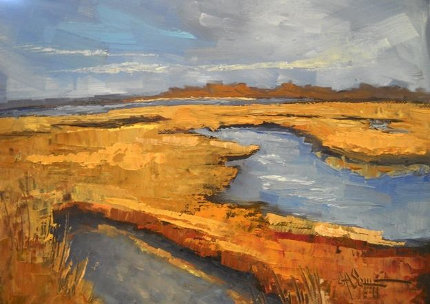"Landscape Artists International: Marsh Painting, Daily Painting, ""Golden Marsh"" by Carol Schiff. 6x8"" Oil"