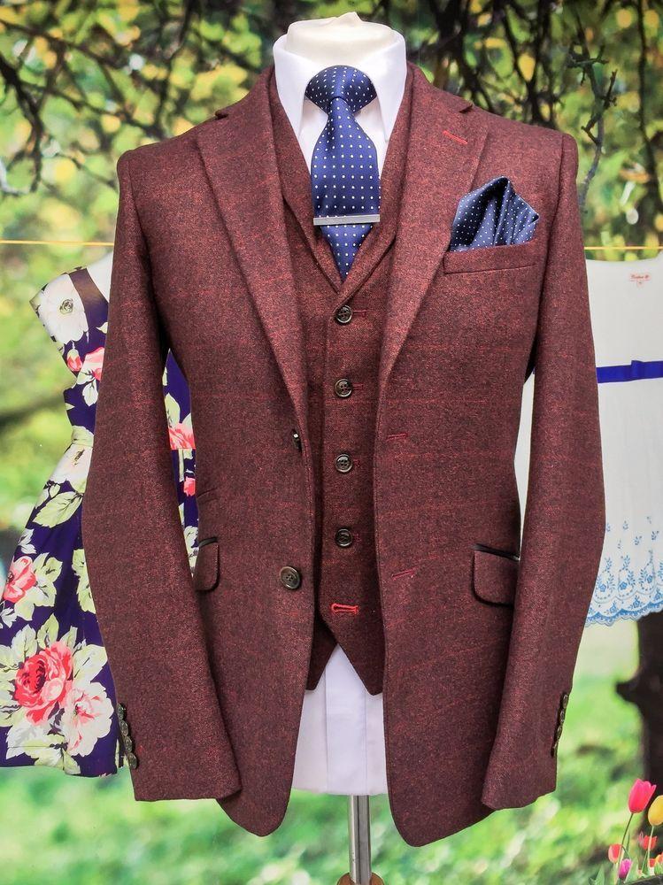 Details about Cavani Draco Wine 3 Piece Slim Fit Tweed