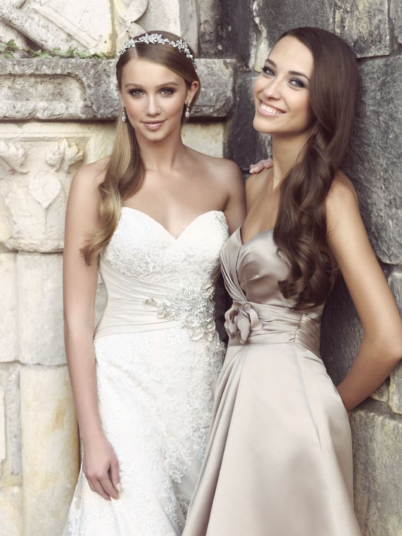 Allure 2569 with taupe bridesmaid dress