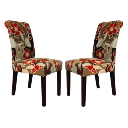 Avington Dining Chair Set Of 2 Red Floral Something With These