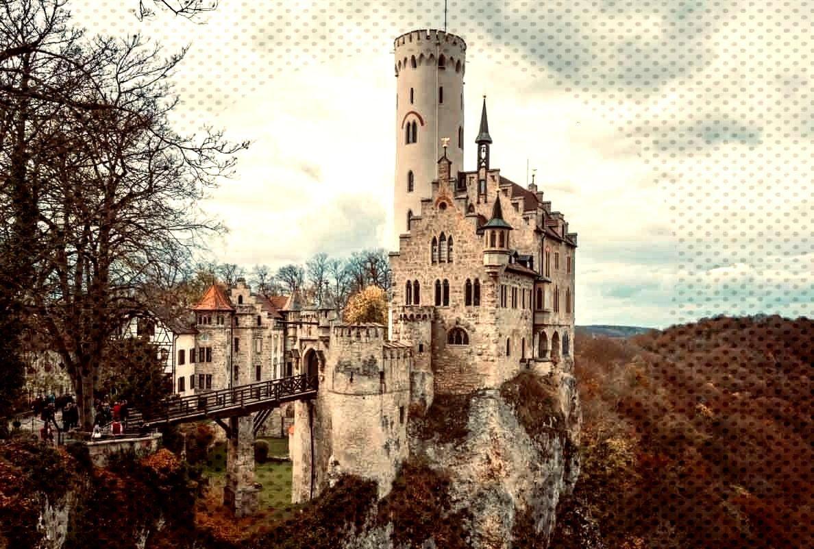 Das Schloß Liechtenstein overlooking the Echaz valley near Honau and Reutlingen is a Gothic-style