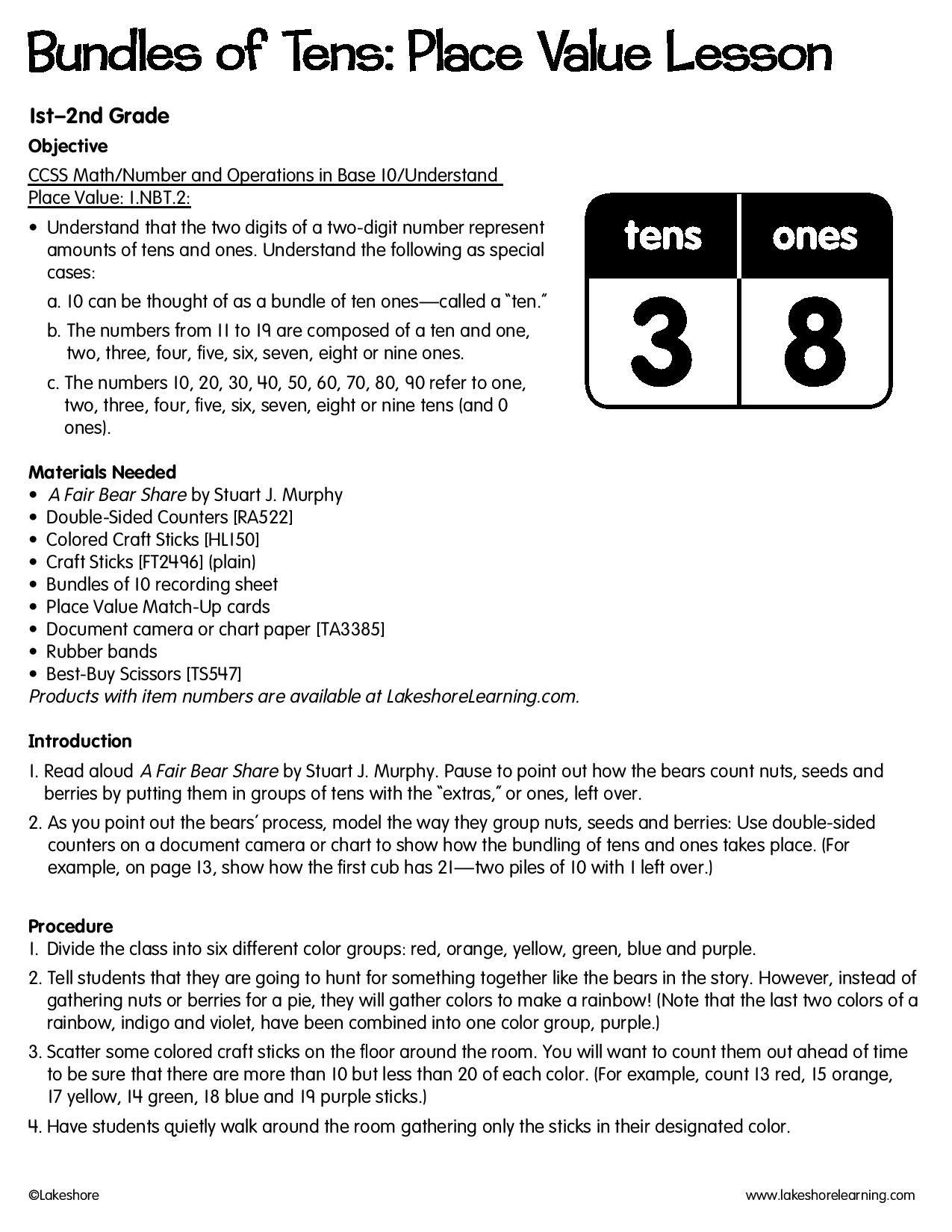 Bundles Of Tens Place Value Lesson Lessonplan