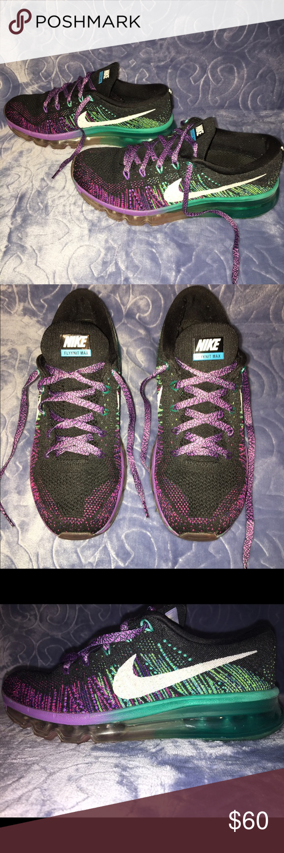 Nike Flyknit Max 6.5 Women Shoes Shoes are 6.5. In women's sizes. Soles look great. The bottom bubbles have a few scratches, but overall they are in good condition. Extremely comfortable and stylish. The colors include black, purple, green, and blue. Nike Shoes Athletic Shoes