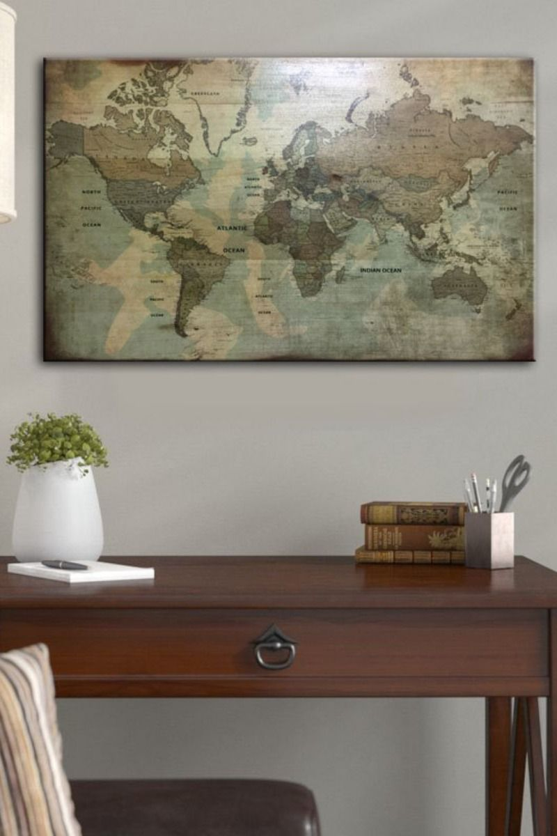 Old World Map Vintage Map Old Map Poster Old World Map Print Wood