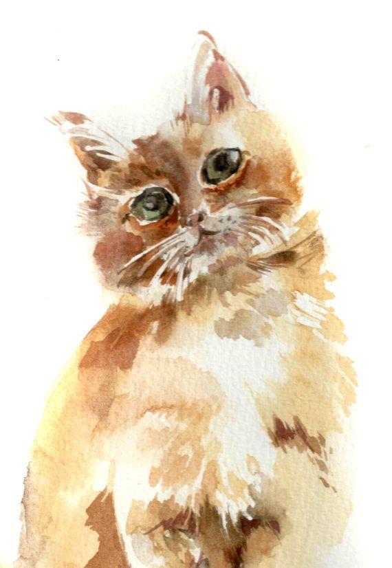 Alley Kitty Cat Watercolor Cat Cat Art Watercolor Art