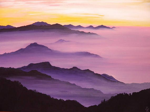 Original Mountain Painting On Canvas Horizontal Landscape Wall Art Stretched Canvas Acrylic Painting Purple Hills Misty Forest Artwork Mountain Landscape Painting Landscape Paintings Landscape Wall Art