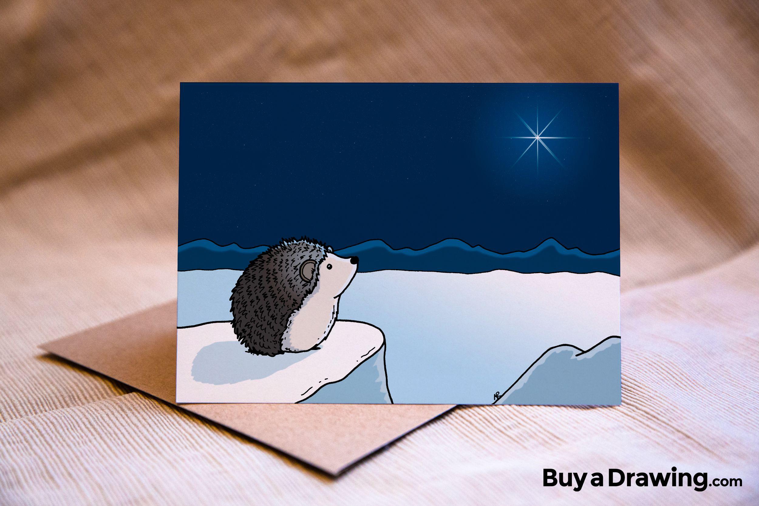 Hedgehog Christmas Star Greeting Card A Sweet Hedgehog Looks Up