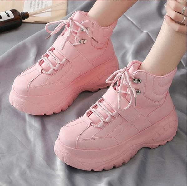High Top Women Sneakers 5 Cm Thick Sole Shoes Breathable Sneaker Shoes White Pink Trend Street Shooting Incr Women Platform Shoes Sneakers Fashion Kawaii Shoes