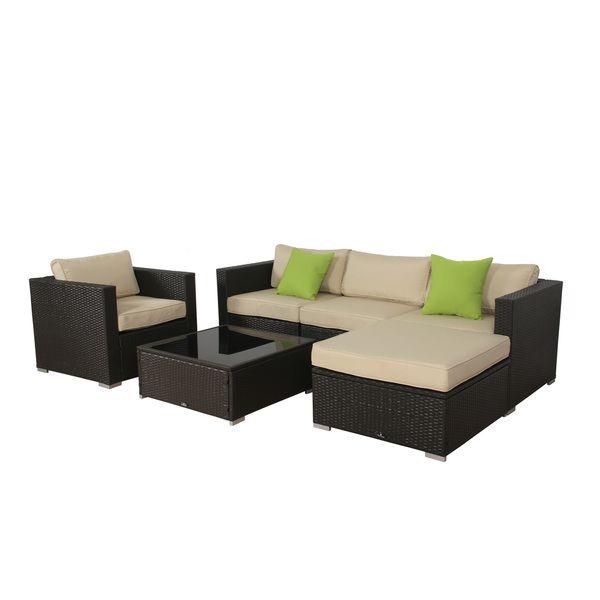 BroyerK 6-piece Beige Outdoor Rattan Patio Furniture Set   Outdoor ...