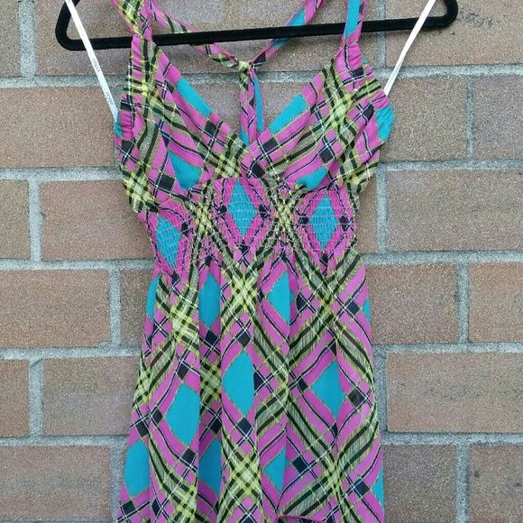 Cenit fuchia plaid sz M tank Somewhat sheer from the bust down. Baby doll swing halter tank. Hand wash. No defects. Cenit Tops Tank Tops