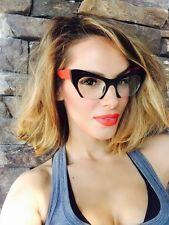 e745f6e0bcfaa Cat Eye Miu Style Rasoir Cut Off Frame Clear Lenses Womens Eyeglasses  Glasses
