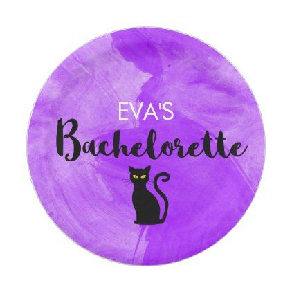 Black Cats Witchy Halloween Bachelorette Party Paper Plate - halloween decorations black cat
