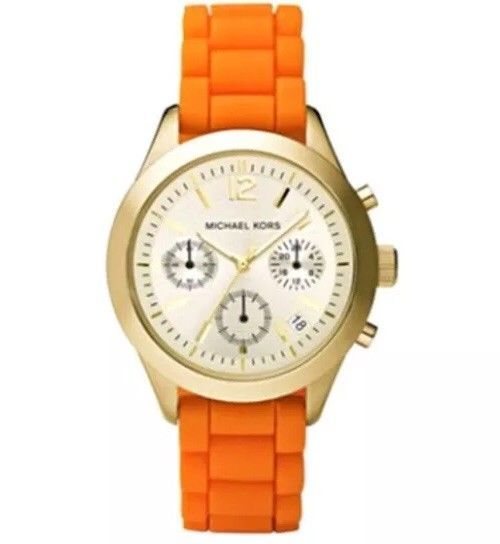 Nwot michael kors watch for womens mk 5407 with orange band w nwot michael kors watch for womens mk 5407 with orange band w cream face gumiabroncs Choice Image