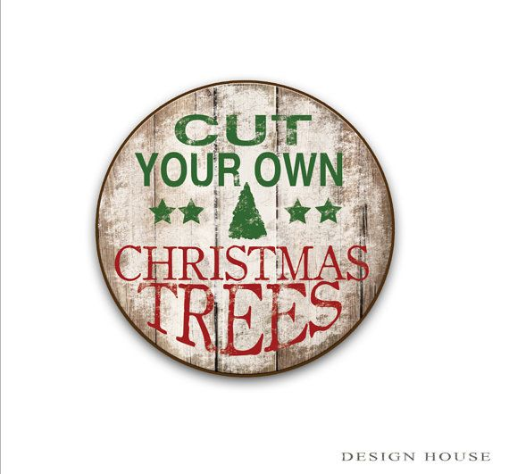 Cut your own Christmas trees wooden sign Christmas decor Christmas sign Holiday…