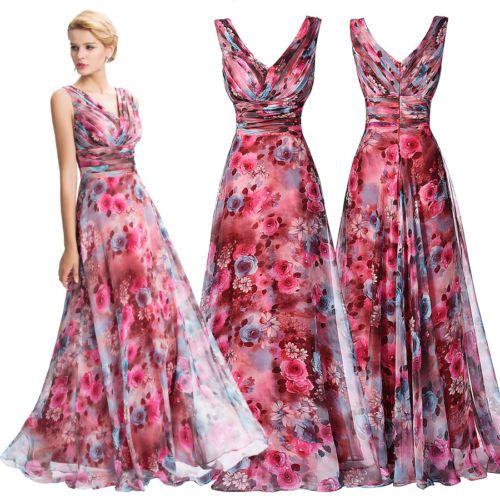 Damen-Floral-CHIFFON-Lang-Abendkleid-BOHO-Cocktailkleid-Partykleider ...