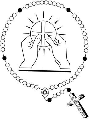 Holy Eucharist and Rosary Catholic Coloring Page | Desenho ...