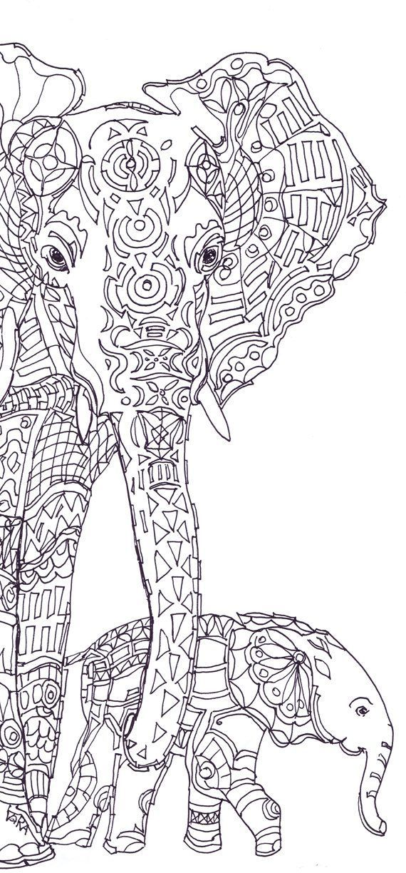 Elephant Clip Art Coloring Pages Printable Adult Book Hand Drawn Original Zentangle Colouring Page For