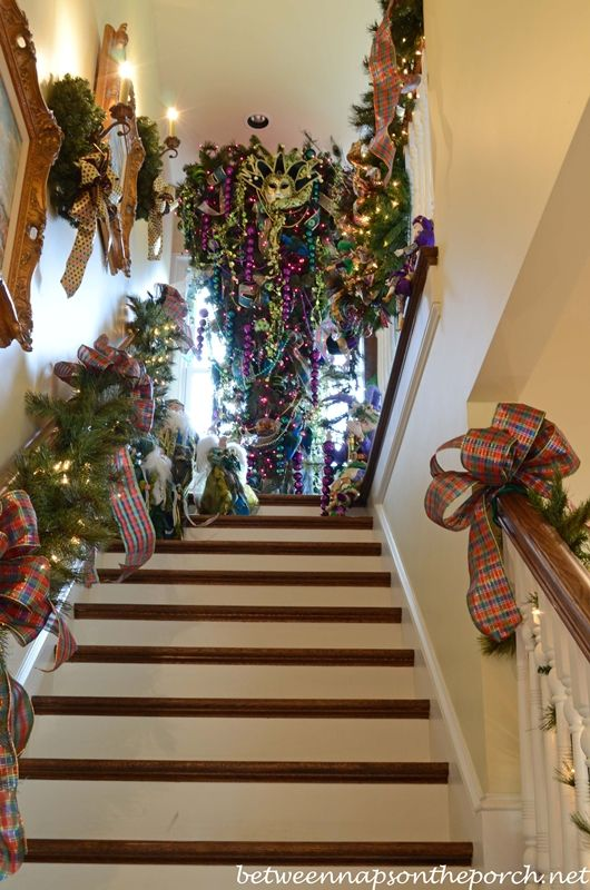 Tour a Beautiful Victorian Home Decorated for Christmas, Part V.  I used to hang an upside down Christmas tree in my grandson's room when he was small (so he couldn't get to the bulbs) I need to do this again.