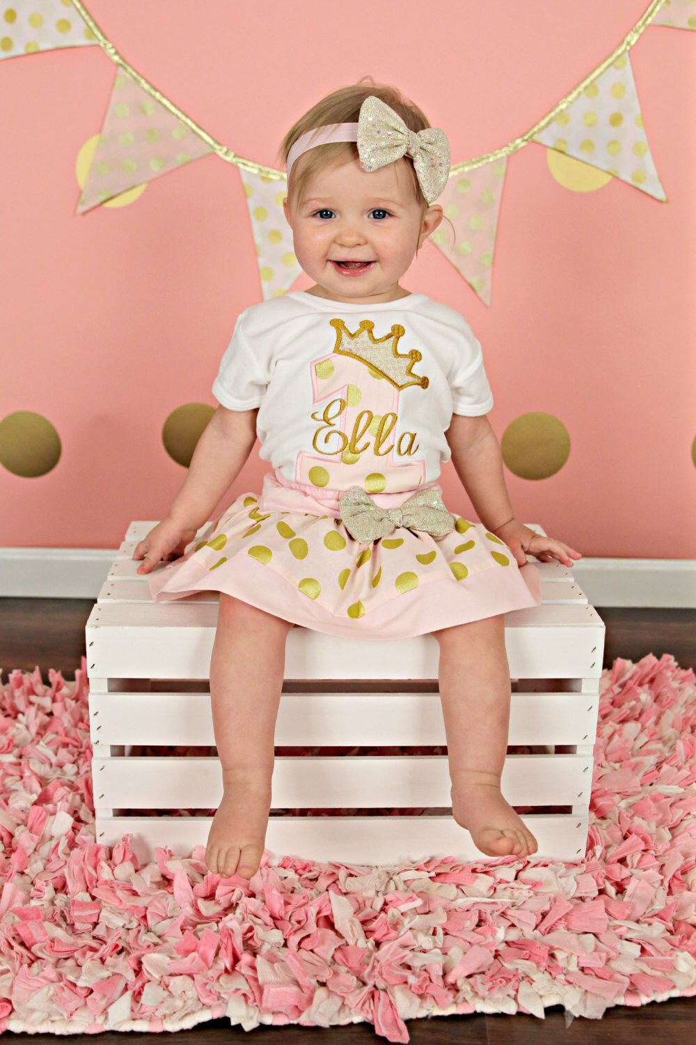 Girls Pink and Gold Birthday Outfit Pink and gold first
